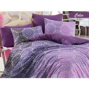Lenjerie de pat pentru 2 persoane, 4 piese, Bahar Majoli, din bumbac 100% Ranforce - Colin