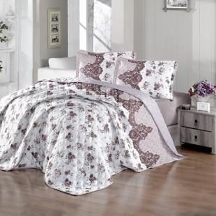 Cuvertura de pat dublu, matlasata, reversibila, pentru 2 persoane, cu 3 piese din bumbac 100%, Ralex Pucioasa - Clasy - Andra