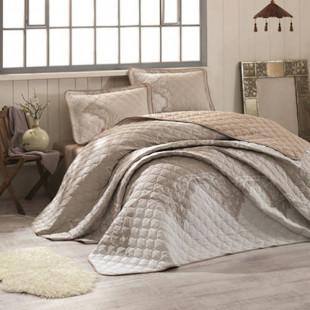 Cuvertura de pat dublu, matlasata, reversibila, pentru 2 persoane, cu 3 piese din bumbac 100%, Ralex Pucioasa - Clasy - Mika