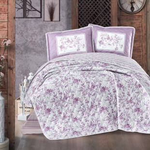 Cuvertura de pat dublu, matlasata, reversibila, pentru 2 persoane, cu 3 piese din bumbac 100%, Ralex Pucioasa - Clasy - Morena