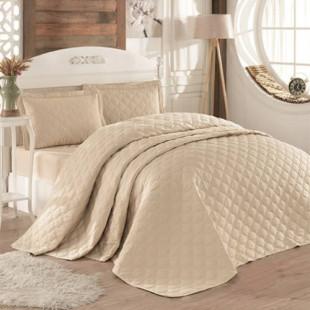 Cuvertura de pat dublu, matlasata, reversibila, pentru 2 persoane, cu 3 piese din bumbac 100%, Ralex Pucioasa - Clasy - Beatrice