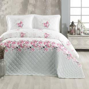 Cuvertura de pat dublu, matlasata, reversibila, pentru 2 persoane, cu 3 piese din bumbac 100%, Ralex Pucioasa - Clasy - Raluca