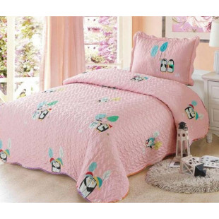Cuvertura de pat din bumbac pentru copii, 1 persoana, cu 2 piese - Anna
