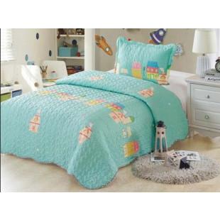 Cuvertura de pat din bumbac pentru copii, 1 persoana, cu 2 piese - Eliss