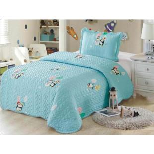 Cuvertura de pat din bumbac pentru copii, 1 persoana, cu 2 piese - Nina