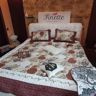Cuvertura moderna de pat matrimonial din bumbac pentru pat dublu, 2 persoane, cu 3 piese - Olivia