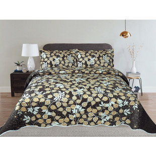 Cuvertura de pat reversibila din bumbac pentru pat dublu. 2 persoane, cu 3 piese - Carla