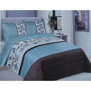 Cuvertura de pat din bumbac pentru pat dublu. 2 persoane, cu 3 piese - Hermina