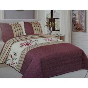 Cuvertura de pat reversibila din bumbac pentru pat dublu. 2 persoane, cu 3 piese - Sasha