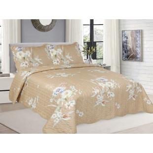 Cuvertura de pat reversibila din bumbac pentru pat dublu. 2 persoane, cu 3 piese - Selina