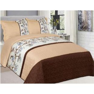 Cuvertura de pat reversibila din bumbac pentru pat dublu. 2 persoane, cu 3 piese - Silvia