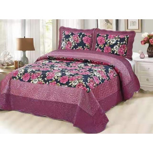 Cuvertura de pat din bumbac pentru pat dublu. 2 persoane, cu 3 piese - Thea