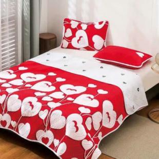 Cuvertura matlasata pentru pat dublu 220x230 cm + 2 fete de perna 50x70 cm, reversibila, pentru 2 persoane din bumbac finet Ralex Pucioasa - Nadina