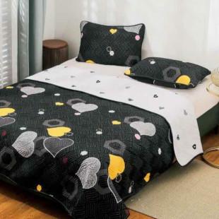 Cuvertura matlasata pentru pat dublu 220x230 cm + 2 fete de perna 50x70 cm, reversibila, pentru 2 persoane din bumbac finet Ralex Pucioasa - Olivia