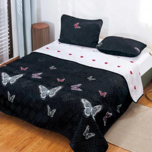 Cuvertura matlasata pentru pat dublu 220x230 cm + 2 fete de perna 50x70 cm, reversibila, pentru 2 persoane din bumbac finet Ralex Pucioasa - Romina