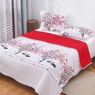 Cuvertura matlasata pentru pat dublu 220x230 cm + 2 fete de perna 50x70 cm, reversibila, pentru 2 persoane din bumbac finet Ralex Pucioasa - Selena