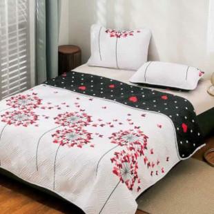 Cuvertura matlasata pentru pat dublu 220x230 cm + 2 fete de perna 50x70 cm, reversibila, pentru 2 persoane din bumbac finet Ralex Pucioasa - Sophia