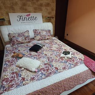 Cuvertura moderna de pat matrimonial din bumbac pentru pat dublu, 2 persoane, cu 3 piese - Lisa