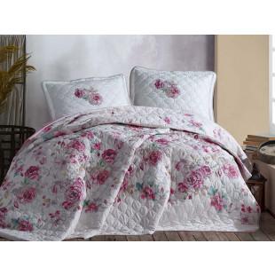 Cuvertura de pat dublu, matlasata, reversibila, pentru 2 persoane, cu 3 piese din bumbac 100%, Clasy - Daria