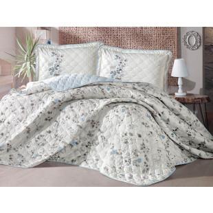 Cuvertura de pat dublu, matlasata, reversibila, pentru 2 persoane, cu 3 piese din bumbac 100%, Clasy - Elisa