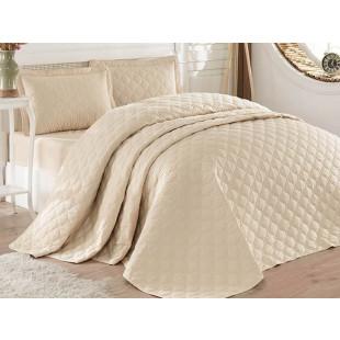 Cuvertura de pat dublu, matlasata, reversibila, pentru 2 persoane, cu 3 piese din bumbac 100%, Clasy - Helen