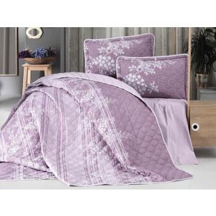 Cuvertura de pat dublu, matlasata, reversibila, pentru 2 persoane, cu 3 piese din bumbac 100%, Clasy - Larisa