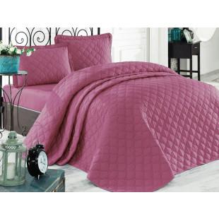 Cuvertura de pat dublu, matlasata, reversibila, pentru 2 persoane, cu 3 piese din bumbac 100%, Clasy - Selena