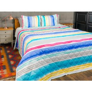 Cuvertura de pat dublu, matlasata, reversibila, pentru 2 persoane, cu 3 piese din bumbac 100%, Majoli - Denisa