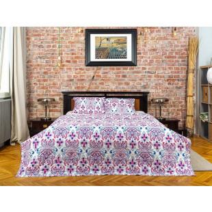 Cuvertura de pat dublu, matlasata, reversibila, pentru 2 persoane, cu 3 piese din bumbac 100%, Majoli - Larisa