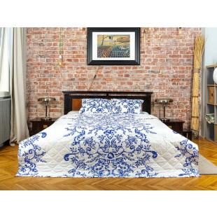 Cuvertura de pat dublu, matlasata, reversibila, pentru 2 persoane, cu 3 piese din bumbac 100%, Majoli - Livia