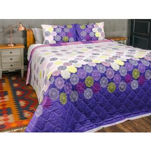 Cuvertura de pat dublu, matlasata, reversibila, pentru 2 persoane, cu 3 piese din bumbac 100%, Majoli - Melanie