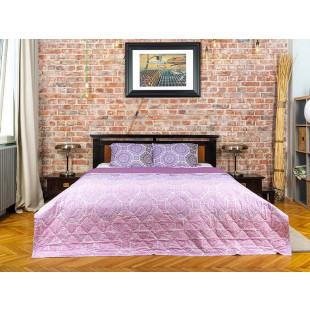 Cuvertura de pat dublu, matlasata, reversibila, pentru 2 persoane, cu 3 piese din bumbac 100%, Majoli - Melissa
