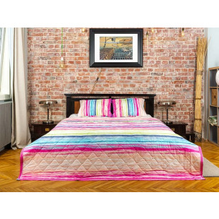Cuvertura de pat dublu, matlasata, reversibila, pentru 2 persoane, cu 3 piese din bumbac 100%, Majoli - Miruna