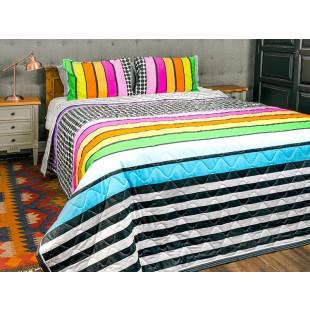 Cuvertura de pat dublu, matlasata, reversibila, pentru 2 persoane, cu 3 piese din bumbac 100%, Majoli - Sabrina