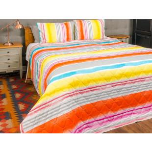 Cuvertura de pat dublu, matlasata, reversibila, pentru 2 persoane, cu 3 piese din bumbac 100%, Majoli - Sorana