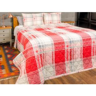 Cuvertura de pat dublu, matlasata, reversibila, pentru 2 persoane, cu 3 piese din bumbac 100%, Majoli - Tania