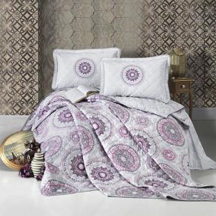 Cuvertura de pat dublu, matlasata, reversibila, pentru 2 persoane, cu 3 piese din bumbac 100%, Ralex Pucioasa-Clasy - Bella