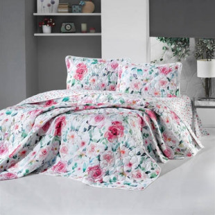 Cuvertura de pat dublu, matlasata, reversibila, pentru 2 persoane, cu 3 piese din bumbac 100%, Ralex Pucioasa - Clasy - Clara