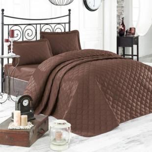 Cuvertura de pat dublu, matlasata, reversibila, pentru 2 persoane, cu 3 piese din bumbac 100%, Ralex Pucioasa - Clasy - Raisa