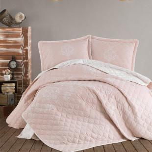 Cuvertura de pat dublu, matlasata, reversibila, pentru 2 persoane, cu 3 piese din bumbac 100%, Ralex Pucioasa - Clasy - Sonia
