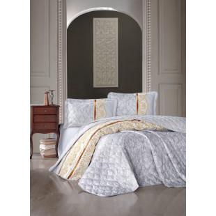 Cuvertura de pat dublu, matlasata, reversibila, pentru 2 persoane, cu 3 piese din bumbac 100%, Ralex Pucioasa - Clasy - Lora