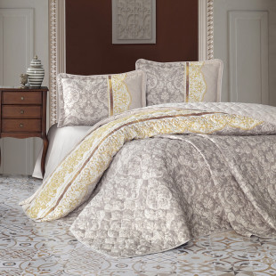 Cuvertura de pat dublu, matlasata, reversibila, pentru 2 persoane, cu 3 piese din bumbac 100%, Ralex Pucioasa - Clasy - Roana