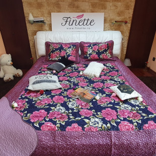 Cuvertura de pat dublu pentru 2 persoane din matase imprimata