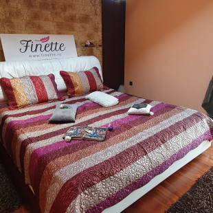 Cuvertura de pat din bumbac pentru pat dublu. 2 persoane, cu 3 piese - Daria
