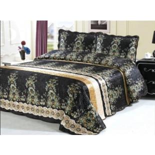 Cuvertura de pat dublu pentru 2 persoane din matase imprimata, cu 3 piese - Alisia