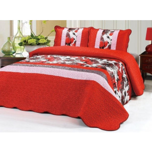 Cuvertura de pat dublu pentru 2 persoane din matase imprimata, cu 3 piese - Danusia
