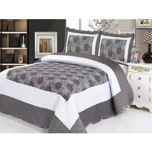 Cuvertura de pat dublu pentru 2 persoane din matase imprimata, cu 3 piese - Fenia