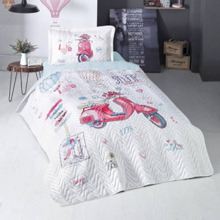 Cuvertura de pat pentru copii matlasata, reversibila, pentru 1 persoana, cu 2 piese din bumbac 100%, Ralex Pucioasa - Clasy - Allysa