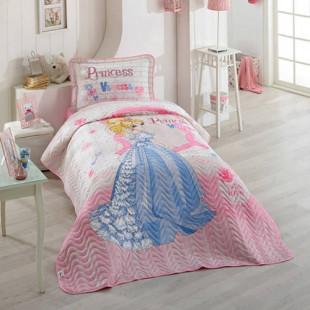 Cuvertura de pat pentru copii matlasata, reversibila, pentru 1 persoana, cu 2 piese din bumbac 100%, Ralex Pucioasa - Clasy - Elise