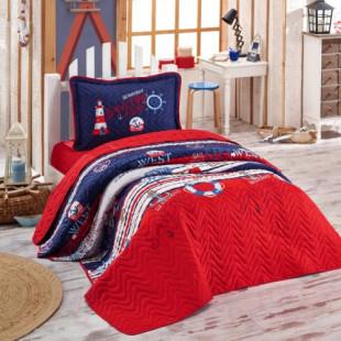 Cuvertura de pat pentru copii matlasata, reversibila, pentru 1 persoana, cu 2 piese din bumbac 100%, Ralex Pucioasa - Clasy - Fineas